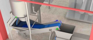 Suction System with stain bath and macerator  - A complete whole chicken suction system with stain elevator and macerator.